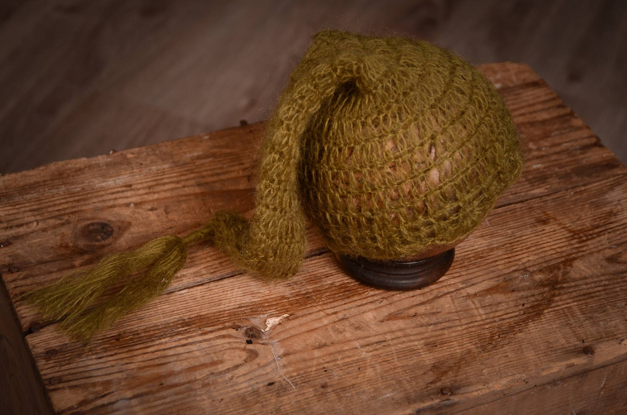 Ornate Mohair Sleeping Hat - Olive-Newborn Photography Props