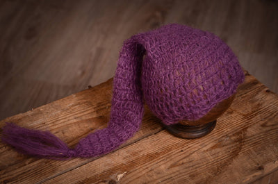 Ornate Mohair Sleeping Hat - Violet-Newborn Photography Props