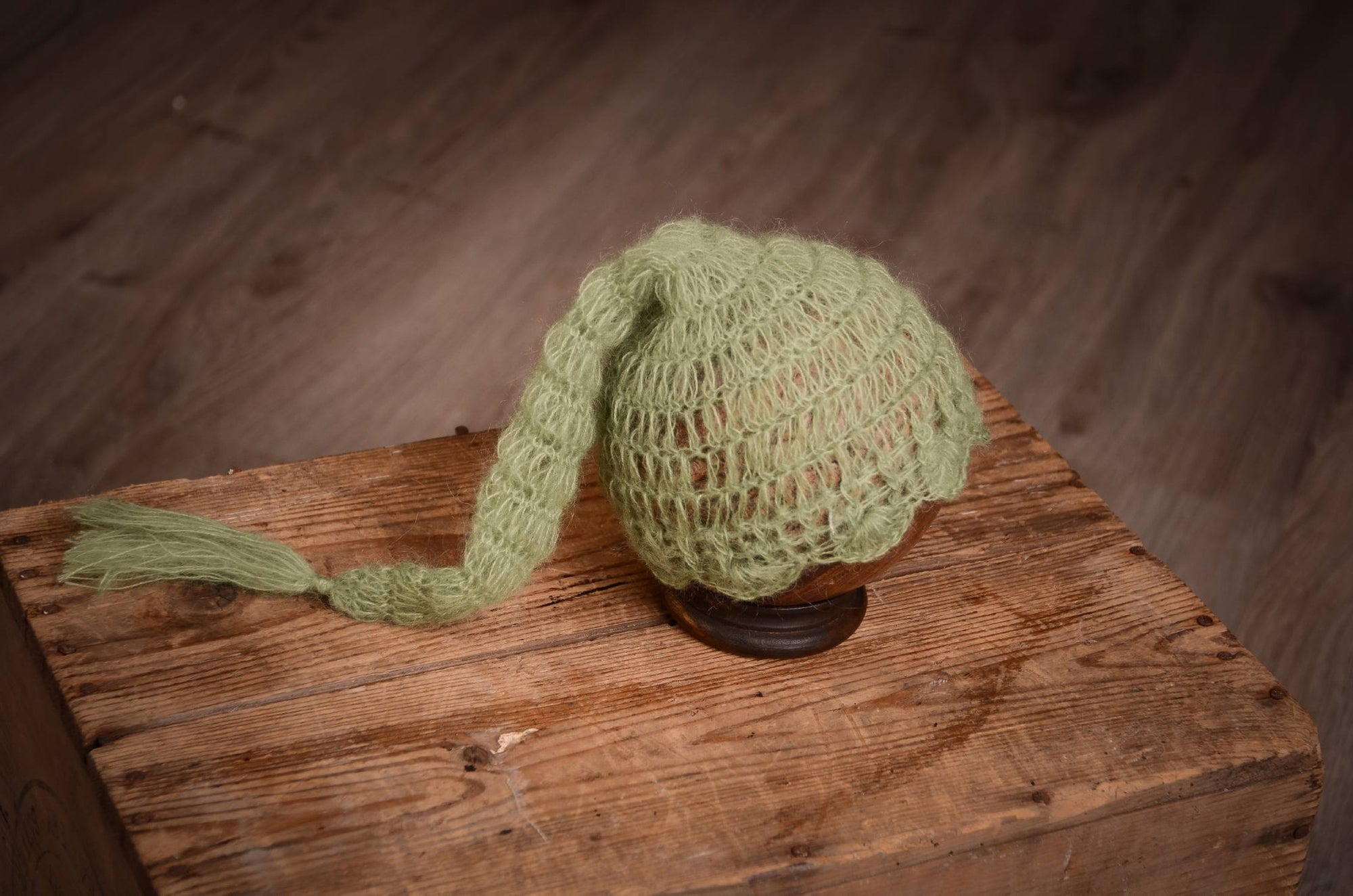 Ornate Mohair Sleeping Hat - Sage-Newborn Photography Props