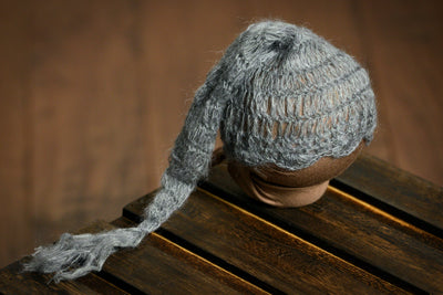 Ornate Mohair Sleeping Hat - Gray-Newborn Photography Props