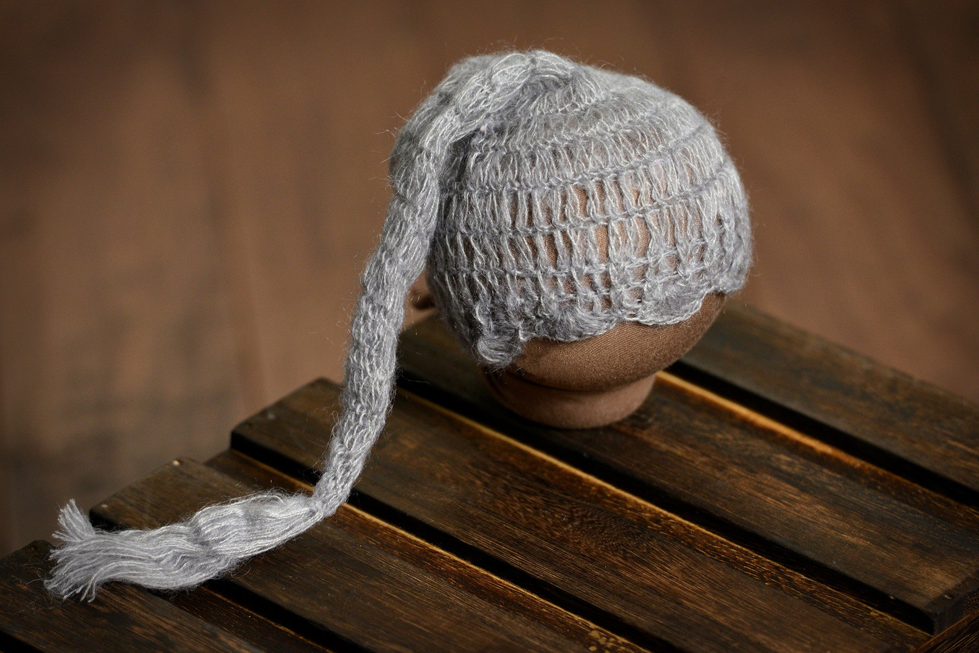 Ornate Mohair Sleeping Hat - Silver-Newborn Photography Props
