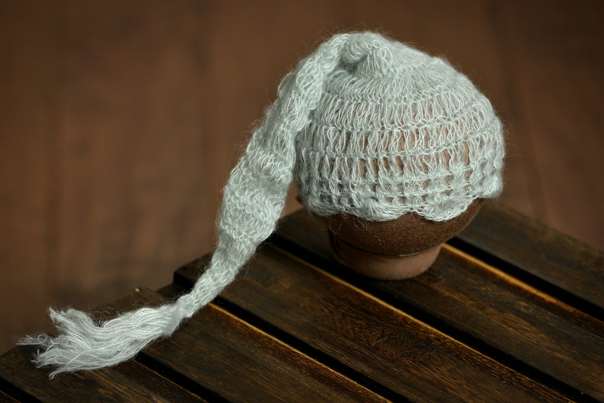 Ornate Mohair Sleeping Hat - Pale Green-Newborn Photography Props
