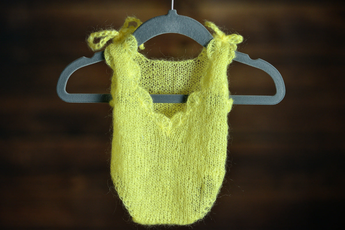 Mohair Bodysuit - Yellow-Newborn Photography Props