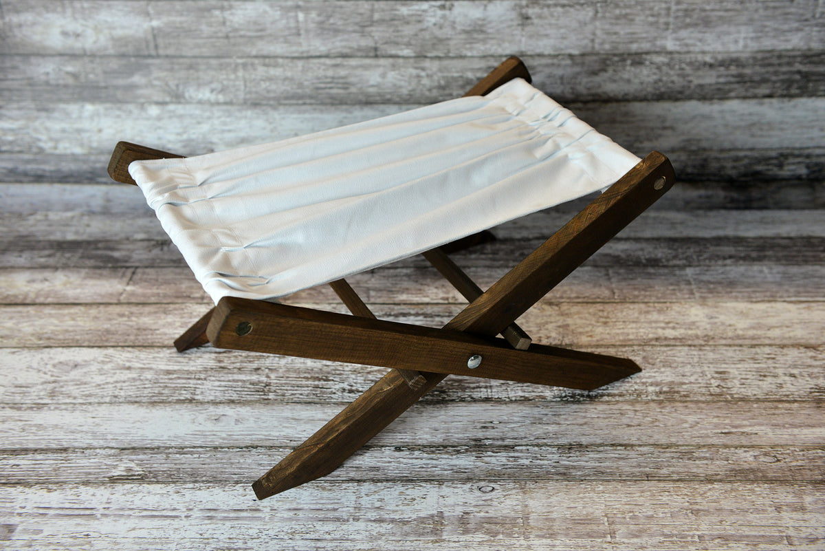 Rustic Deck Chair - White Canvas - Interchangeable-Newborn Photography Props