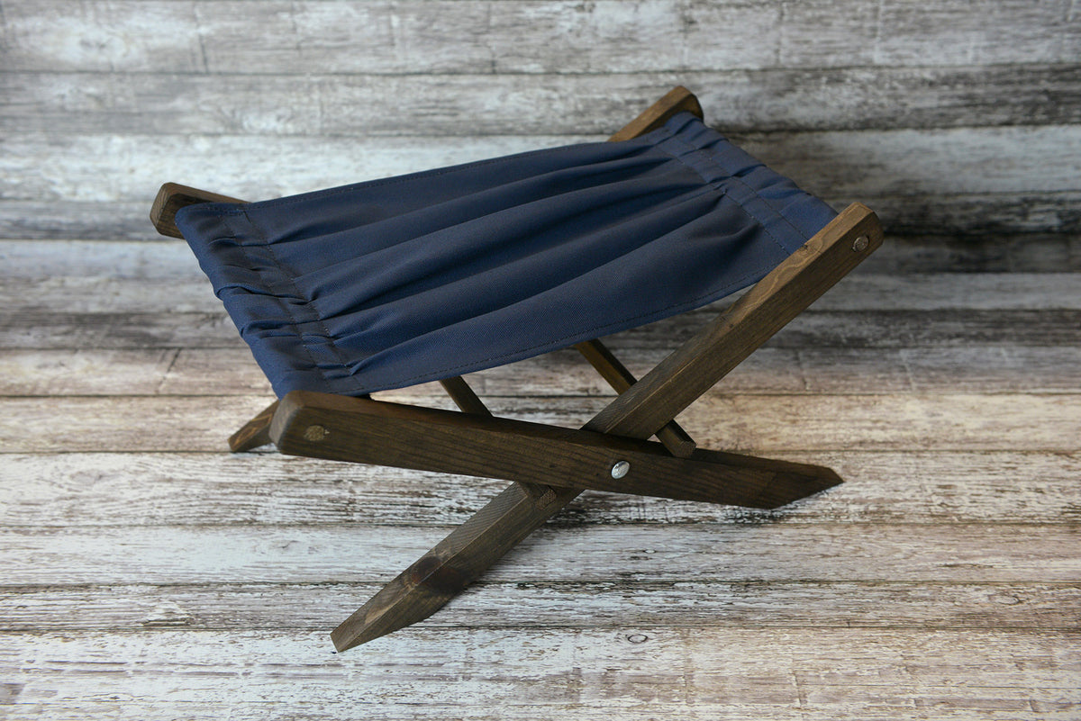 Rustic Deck Chair - Navy Canvas - Interchangeable-Newborn Photography Props