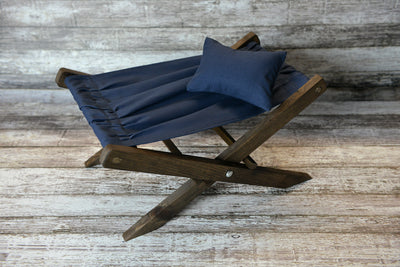 Rustic Deck Chair AND Matching Pillow - Interchangeable Canvas-Newborn Photography Props