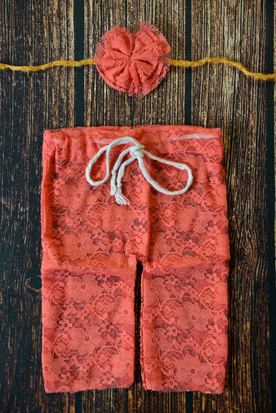 SET Lace Pants and Headband - Coral-Newborn Photography Props