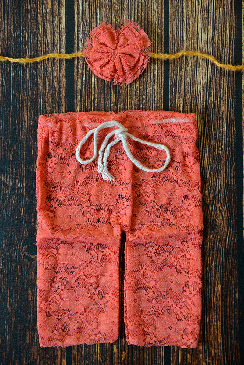 SET Lace Pants and Headband - Coral