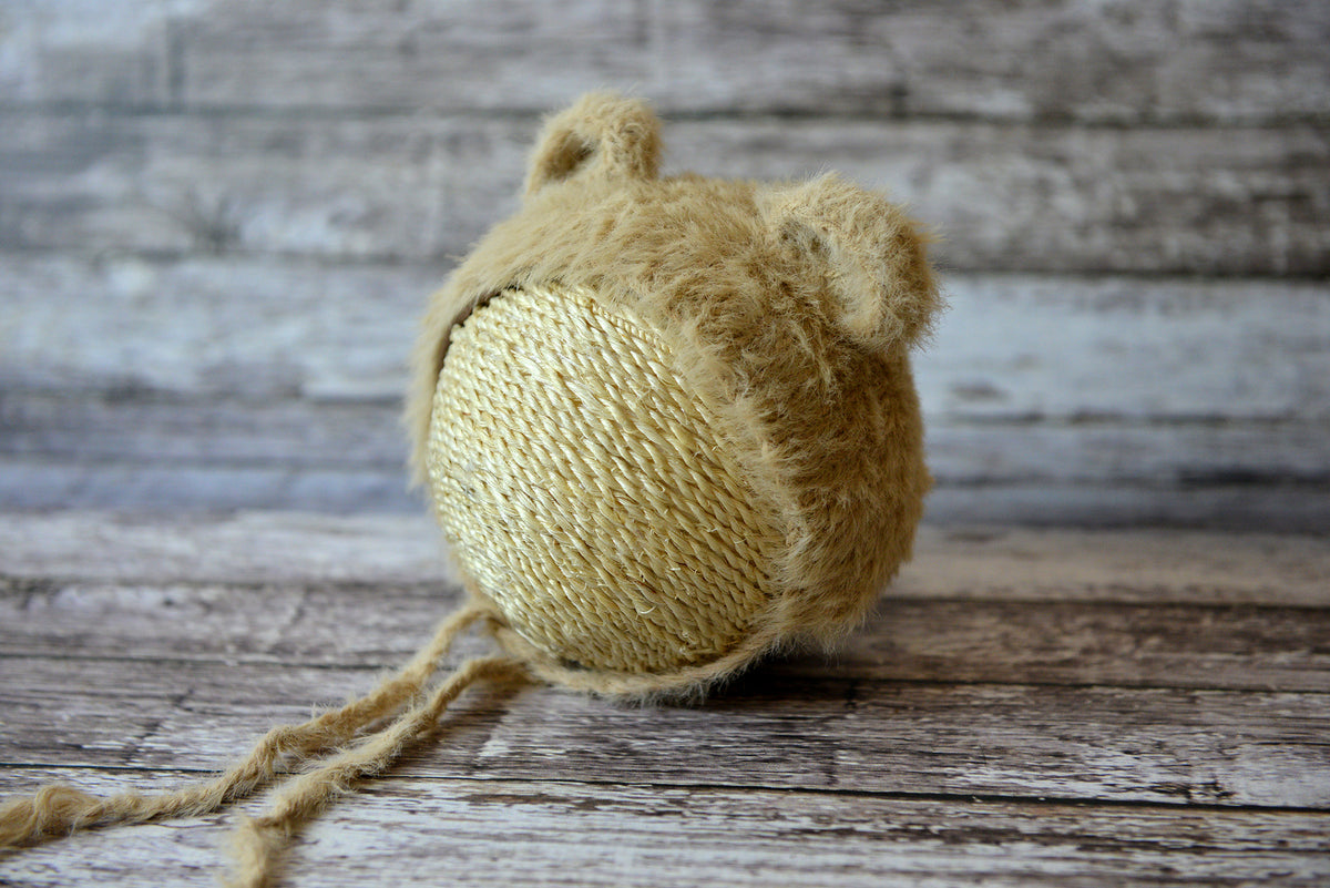 Bear Bonnet - Beige-Newborn Photography Props