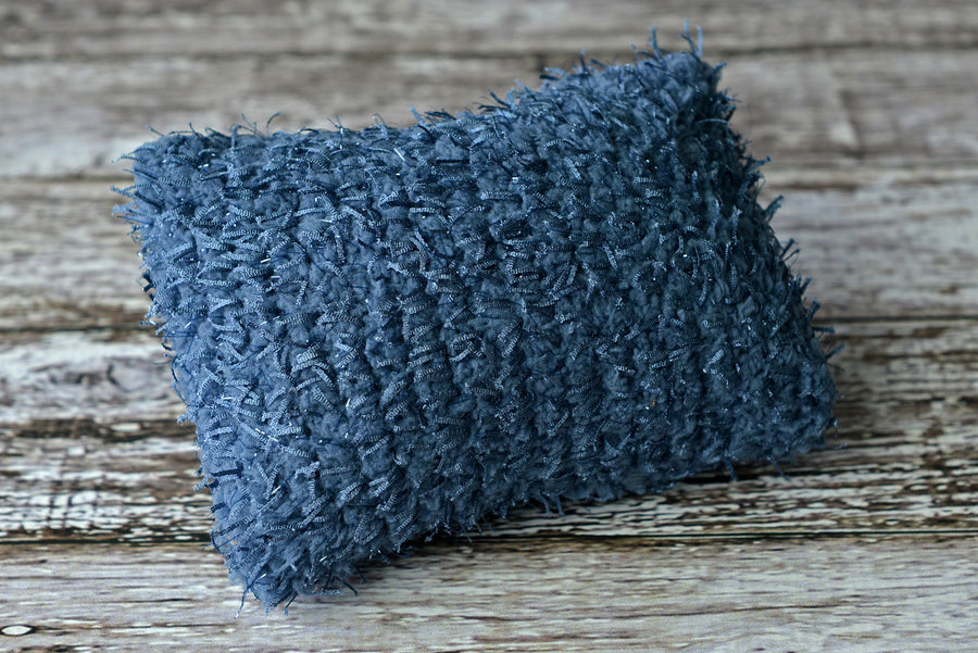 Mini Pillow with Cover - Threads - Blue Gray-Newborn Photography Props