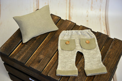 SET Pillow and Pants - Beige-Newborn Photography Props