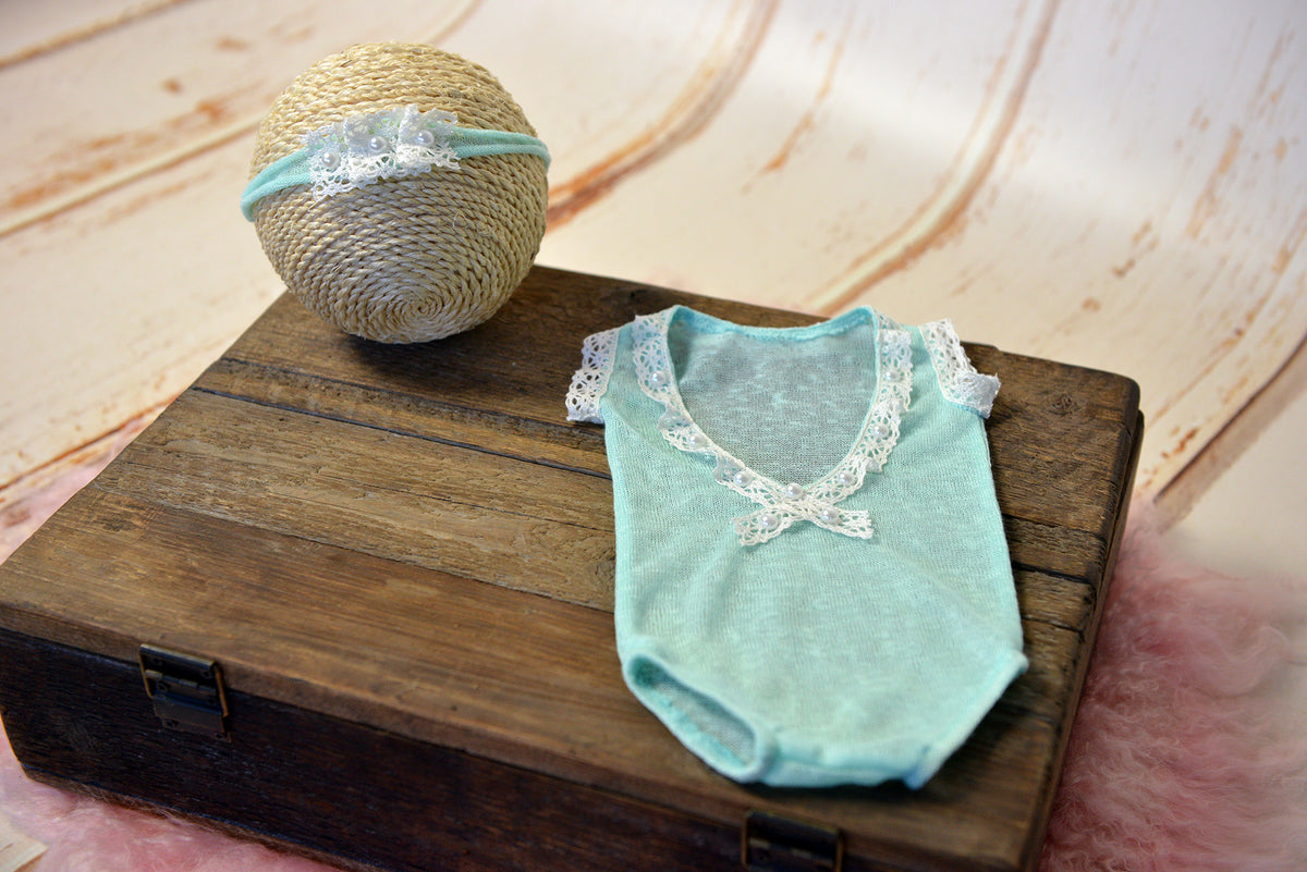 SET Bodysuit and Headband - Aquamarine-Newborn Photography Props