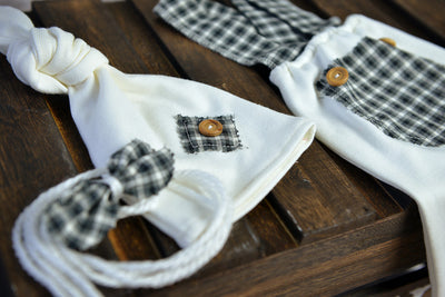 SET Dungarees 3-Piece Checkered Pattern - Gray-Newborn Photography Props