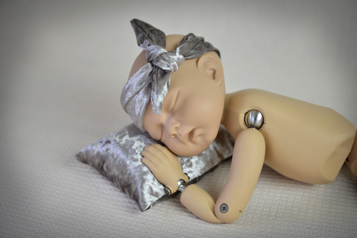 Bandana and Mini Pillow - Velvet - Silver-Newborn Photography Props