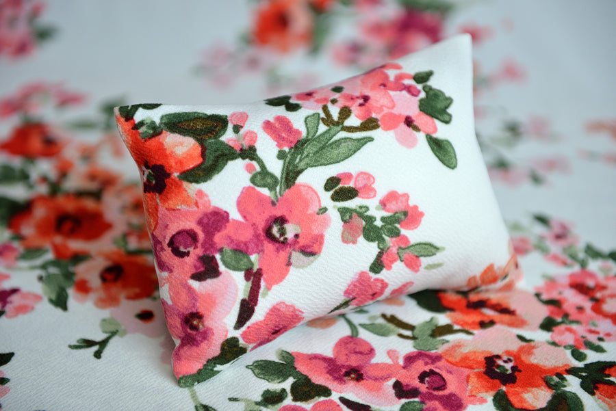 Mini Pillow with Cover - Textured - Floral 7-Newborn Photography Props