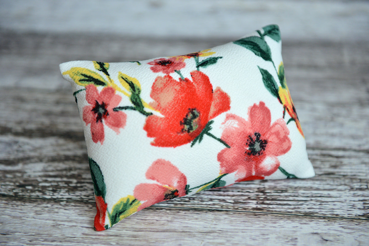 Mini Pillow with Cover - Textured - Floral 1-Newborn Photography Props