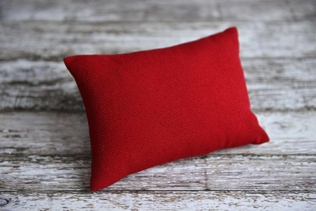Mini Pillow with Cover - Textured - Red-Newborn Photography Props