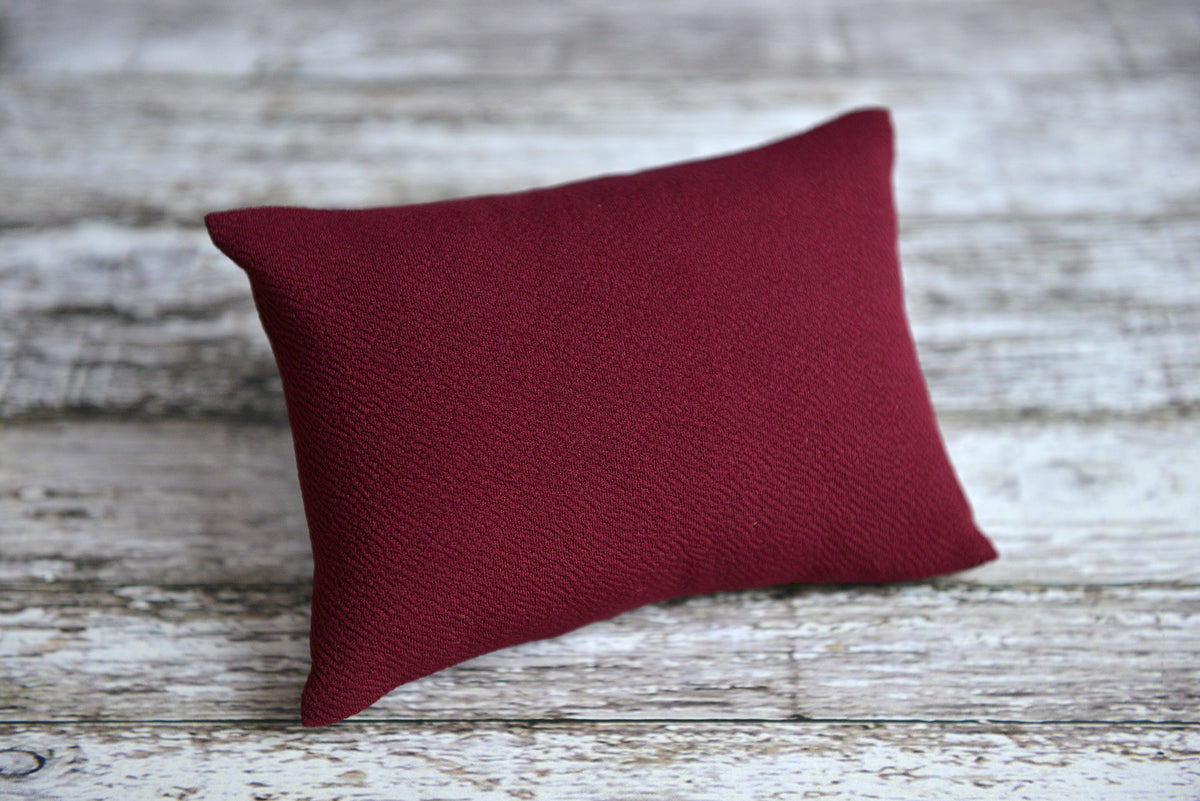 Mini Pillow with Cover - Textured - Burgundy-Newborn Photography Props