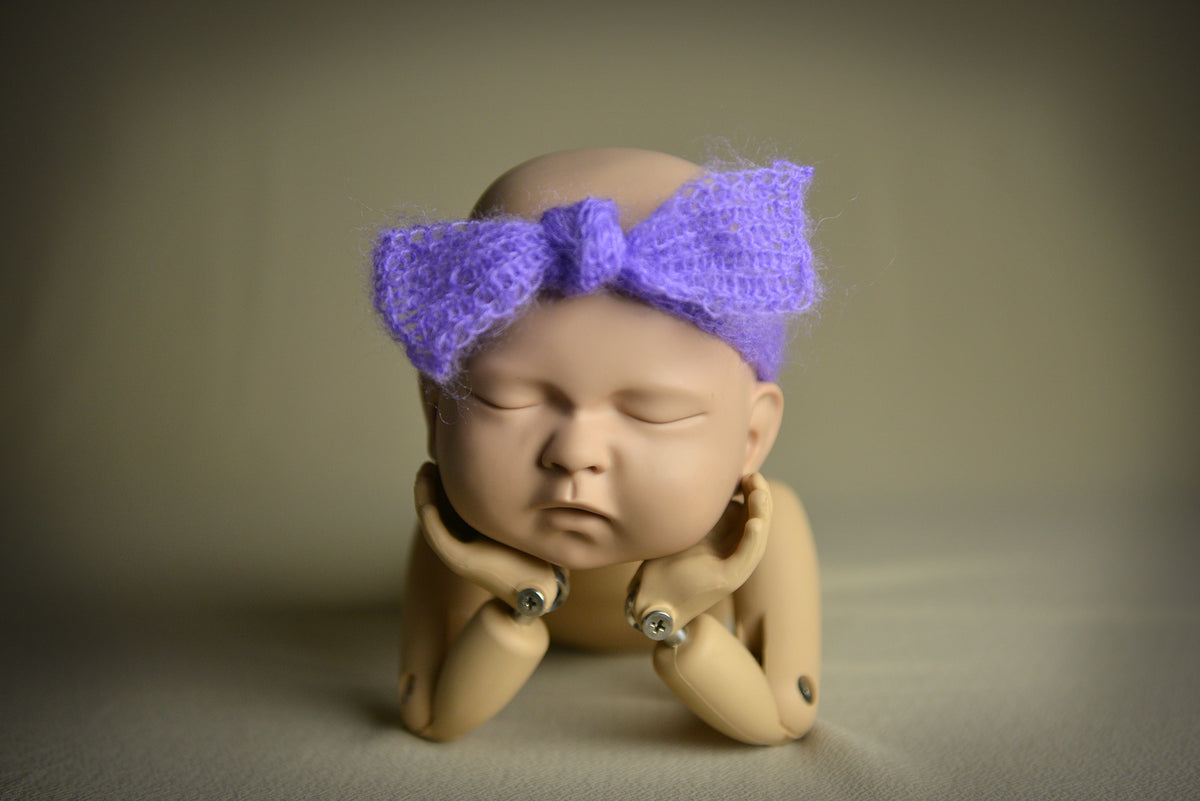 Mohair Bow Headband - Lilac-Newborn Photography Props