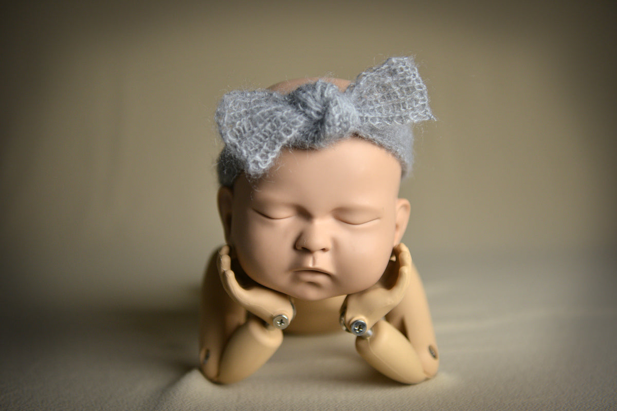 Mohair Bow Headband - Silver-Newborn Photography Props