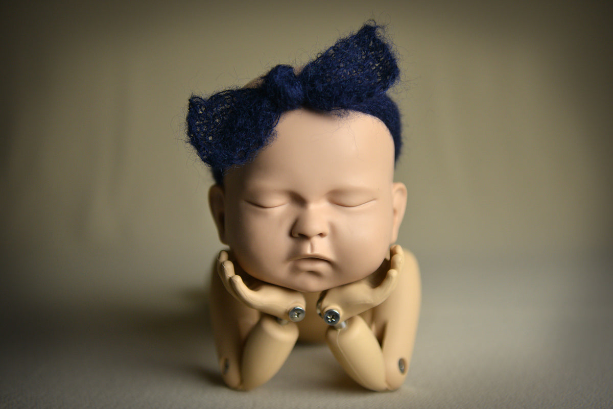 Mohair Bow Headband - Dark Blue-Newborn Photography Props