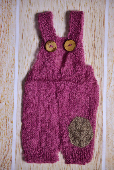 Mohair Overall with Patch and Buttons - Mauve-Newborn Photography Props