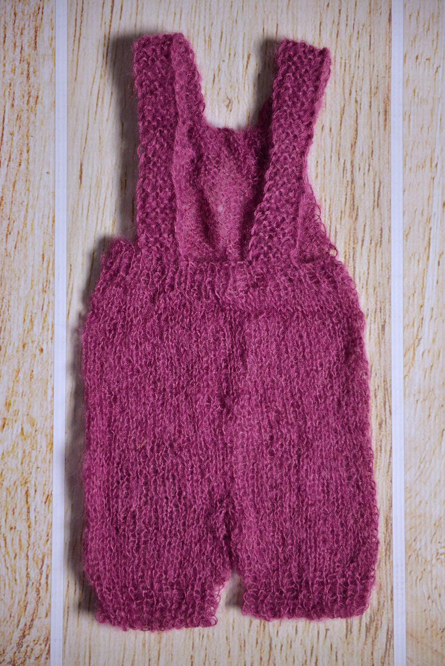 Mohair Overall with Patch and Buttons - Mauve