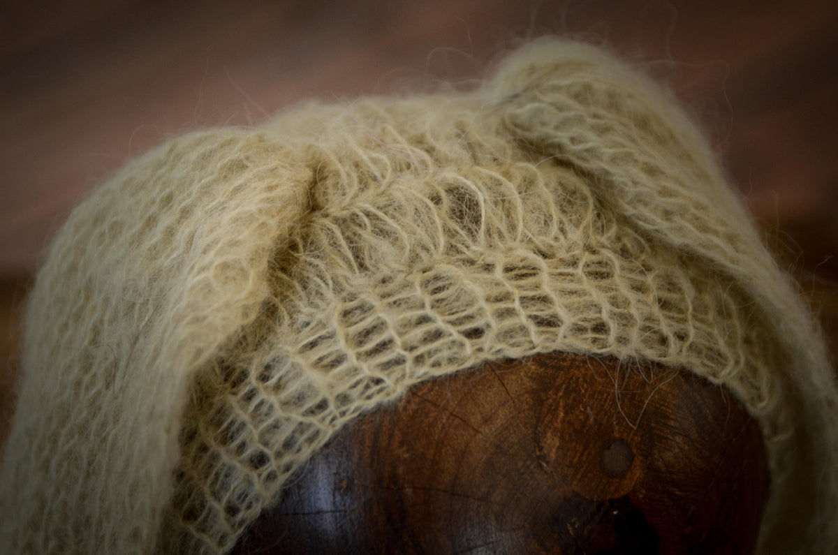 Rabbit Ears Mohair Hat - Beige-Newborn Photography Props