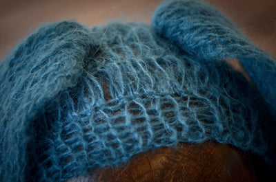 Rabbit Ears Mohair Hat - Blue-Newborn Photography Props