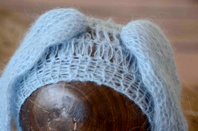 Rabbit Ears Mohair Hat - Light Blue-Newborn Photography Props