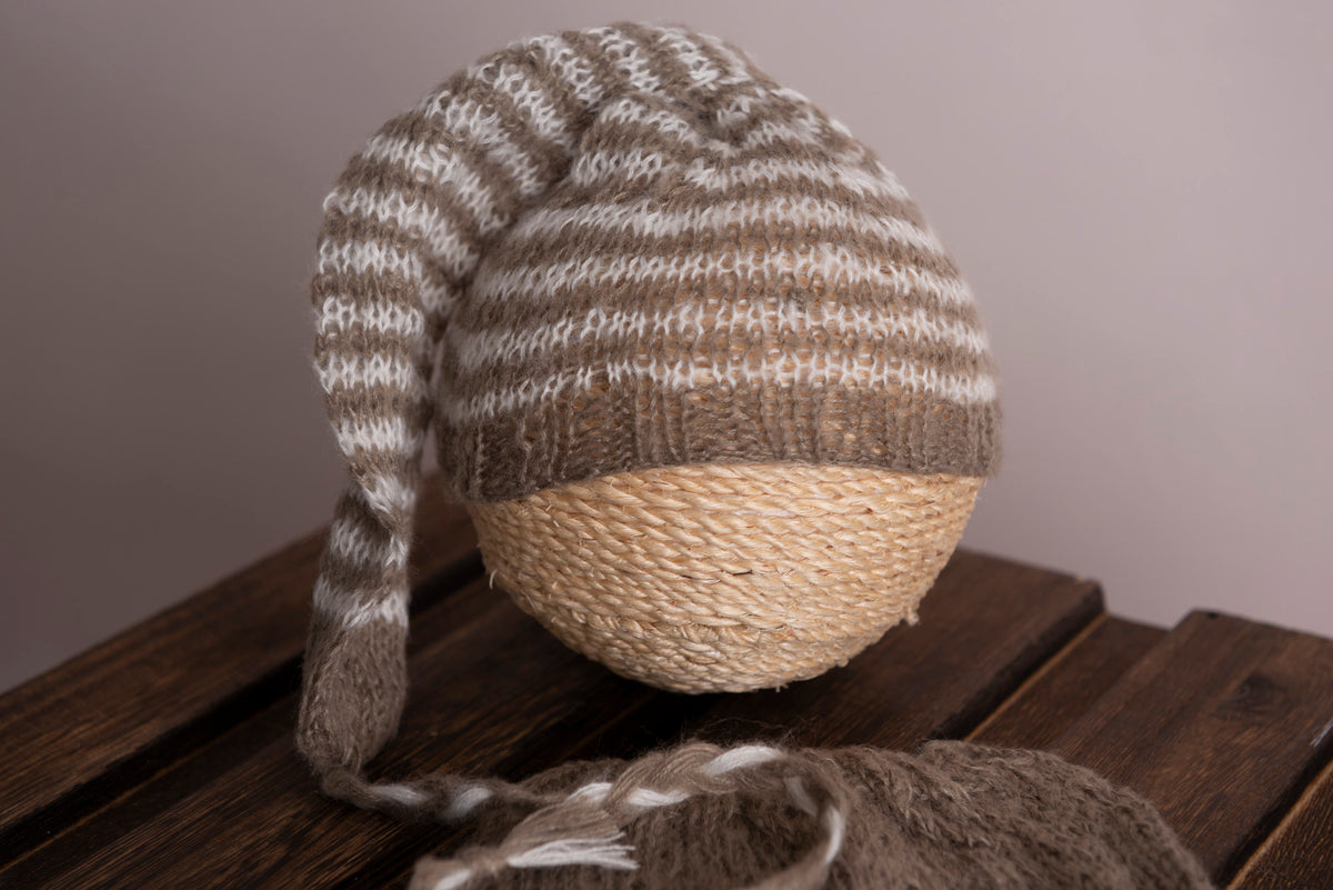 SET Mohair Pants and Striped Sleeping Hat - Light Brown
