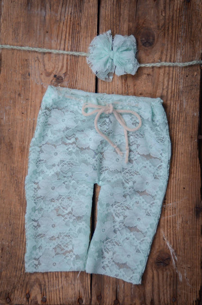 SET Lace Pants and Headband - Aquamarine-Newborn Photography Props