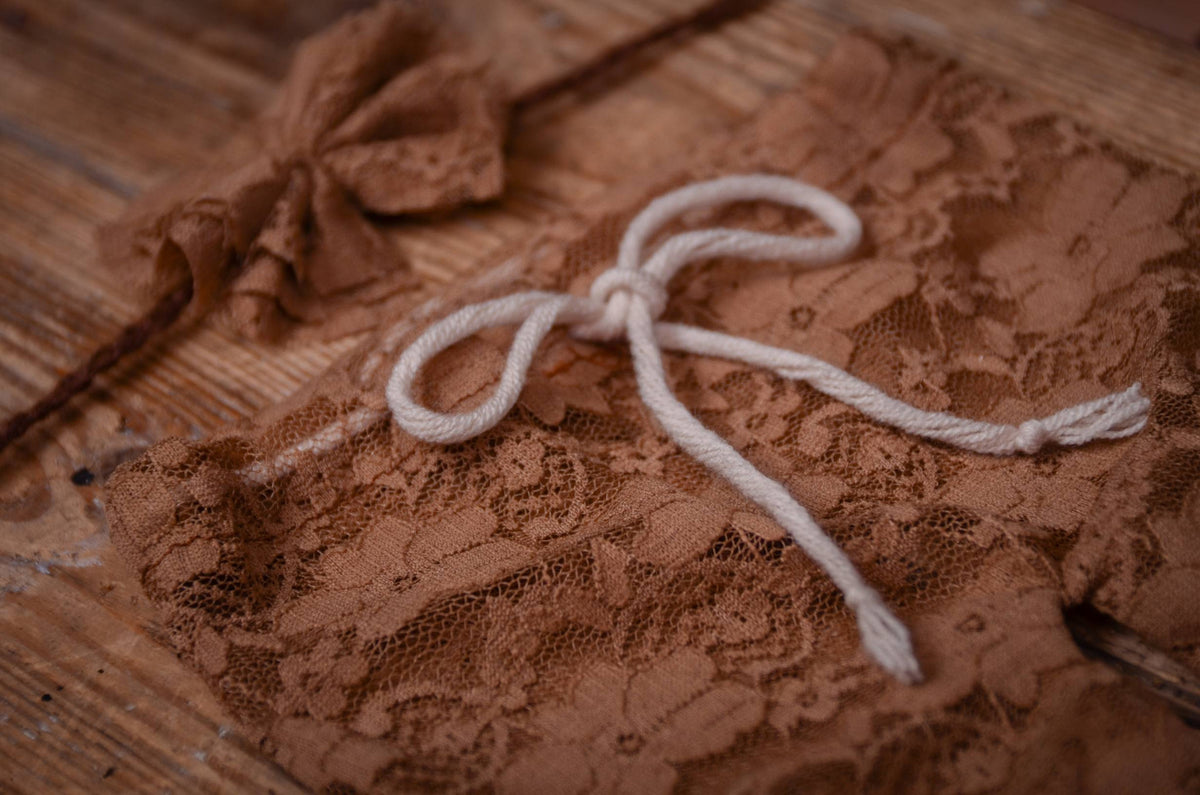 SET Lace Pants and Headband - Camel-Newborn Photography Props