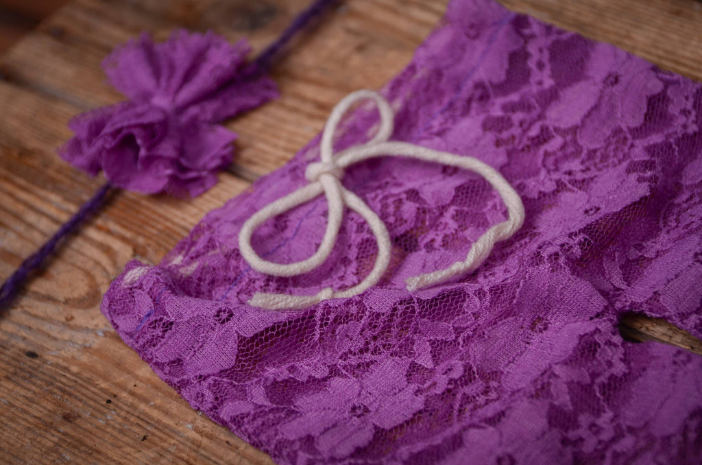 SET Lace Pants and Headband - Intense Violet