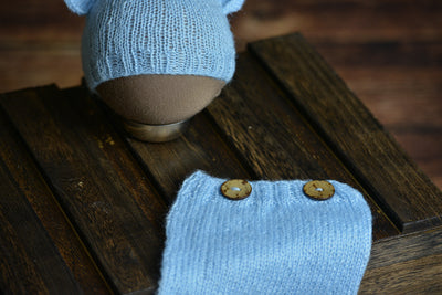 SET Mohair Bear Hat and Pants - Light Blue