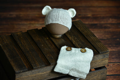 SET Mohair Bear Hat and Pants - White-Newborn Photography Props