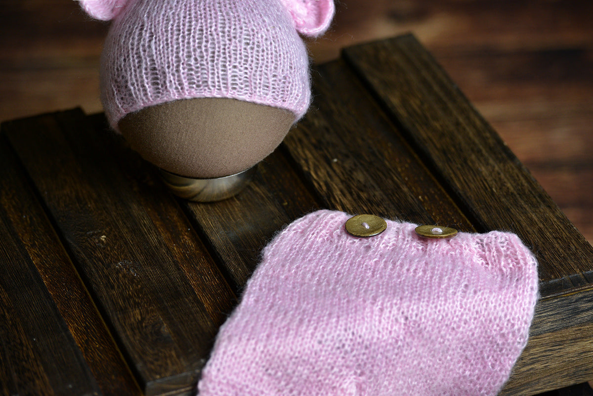 SET Mohair Bear Hat and Pants - Pink-Newborn Photography Props