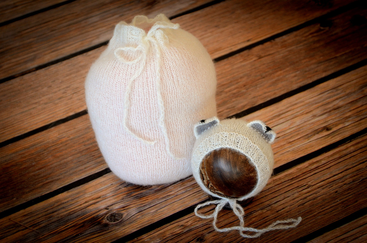 SET Mohair Fox Bonnet and Sack - White-Newborn Photography Props