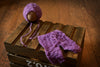 SET Mohair Pants and Bonnet with Pearls - Violet