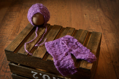 SET Mohair Pants and Bonnet with Pearls - Violet-Newborn Photography Props