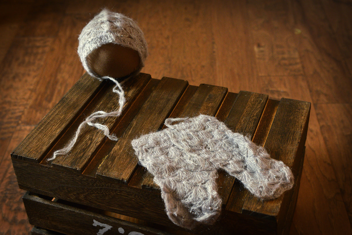 SET Mohair Pants and Bonnet with Pearls - Silver-Newborn Photography Props