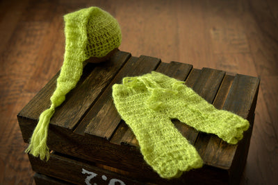 SET Mohair Pants and Ornate Sleeping Hat - Light Green-Newborn Photography Props