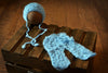 SET Mohair Pants and Bonnet with Knotted Ties - Sky Blue-Newborn Photography Props