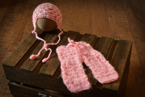 SET Mohair Pants and Bonnet with Knotted Ties - Pink