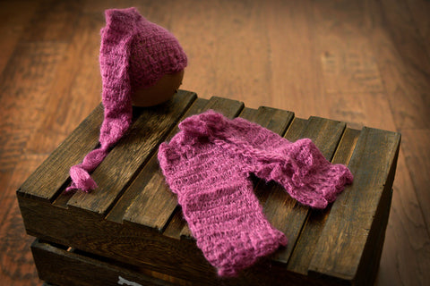 SET Mohair Pants and Ornate Sleeping Hat - Mauve