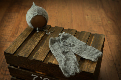 SET Mohair Pants and Adjustable Pointy Bonnet - Gray