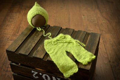 SET Mohair Pants and Adjustable Pointy Bonnet - Light Green-Newborn Photography Props