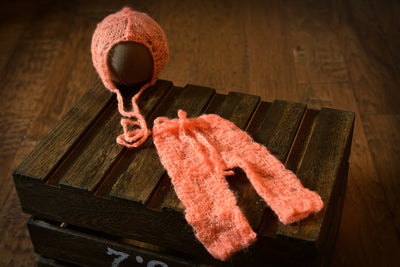 SET Mohair Pants and Ornate Flower Bonnet - Salmon-Newborn Photography Props