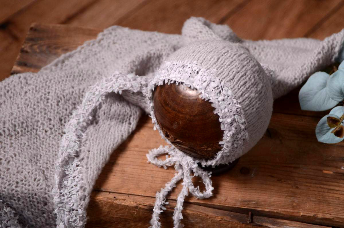 SET Fantasy Mohair Bonnet and Wrap - Silver-Newborn Photography Props