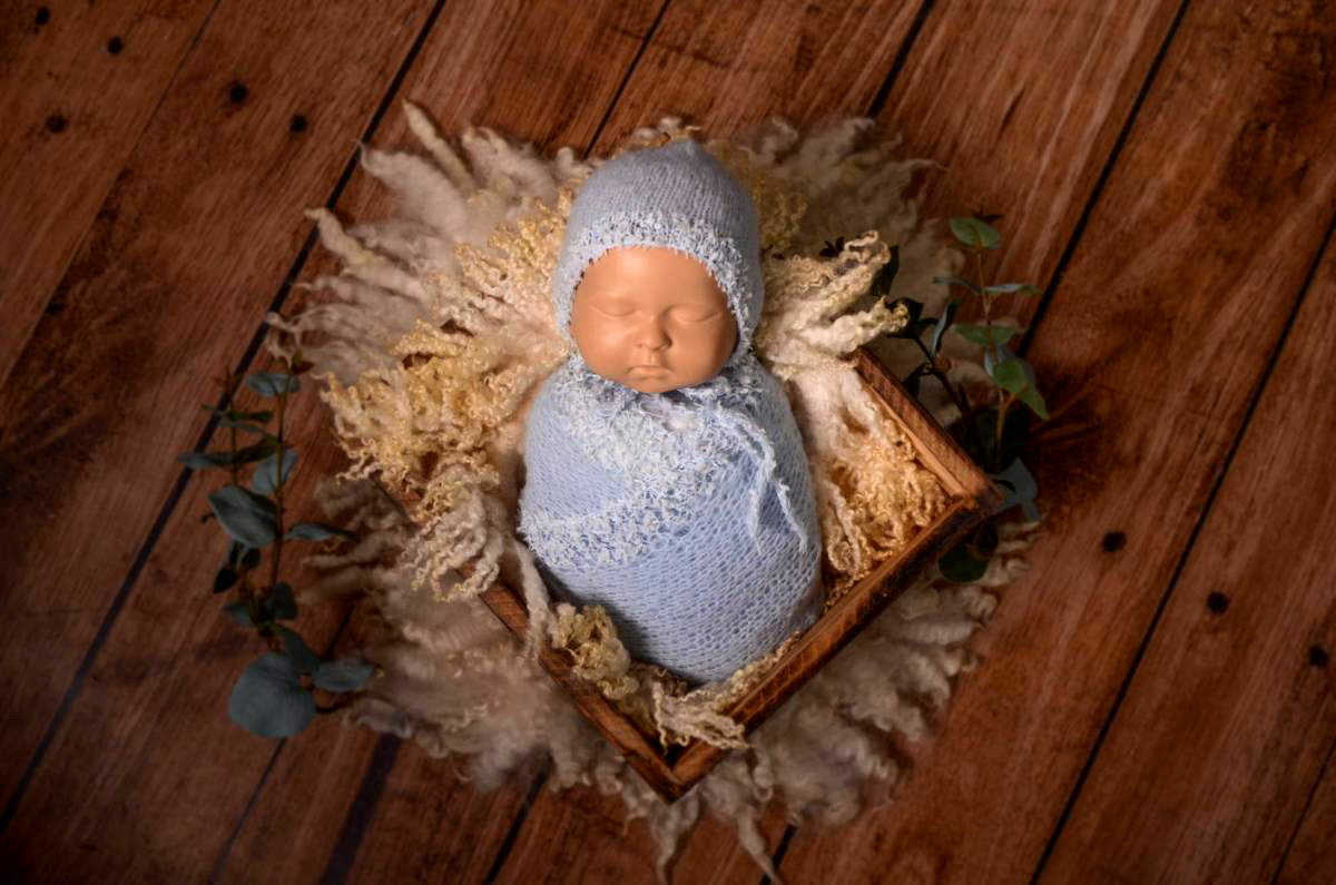 SET Fantasy Mohair Bonnet and Wrap - Cloud-Newborn Photography Props